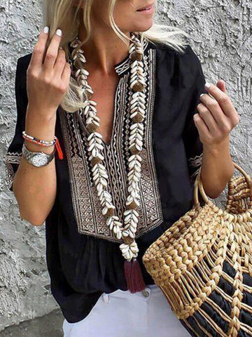 Fashion Sleeve Loose Embroidered Blouse