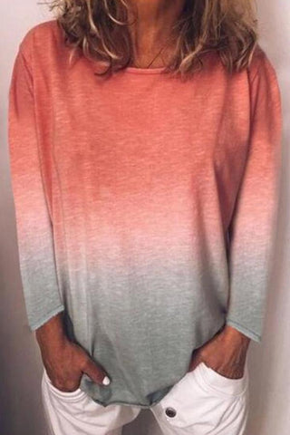 Round Neck Gradient Long Sleeve T-Shirts