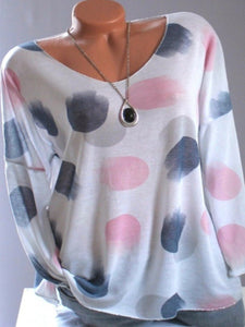 Round  Neck  Brief  Polka Dot  Long Sleeve T-Shirts