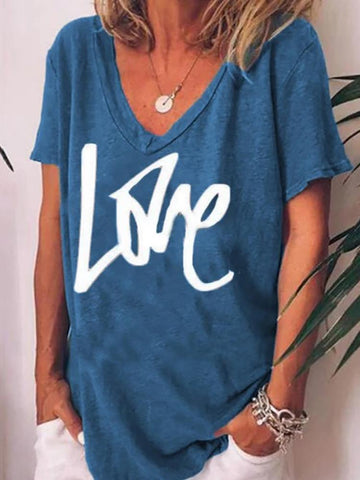 Casual V-Neck Short-Sleeve Letter-Print T-Shirt