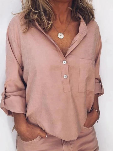 Casual Pure Color V Collar Blouse