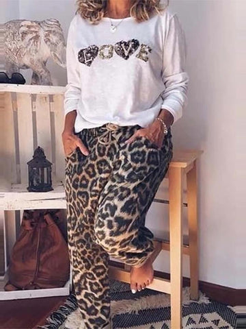 Fashion Leopard Printed Loose Casual Pants