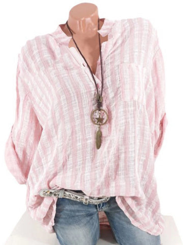 Casual V-Neck Striped Pocket Curly Sleeve Shirt