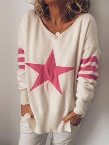 V Neck Printed Splicing Loose Sweater