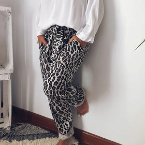 Casual Leopard Printed Belted Pants