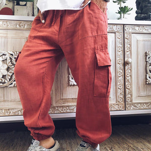 Casual Pure Colour Belted Pants