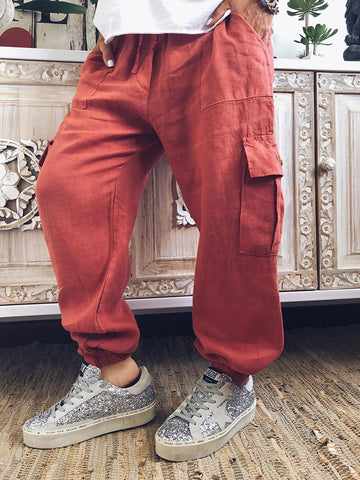 Casual Pure Color Belted Pants