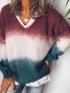 Casual V Neck Long Sleeve  Knit Sweater