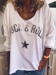 Casual Loose Letters Printed Round Neck T-Shirt