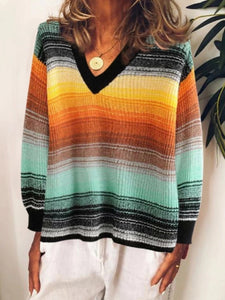Fashion Casual V Neck Color Block Knit Sweater