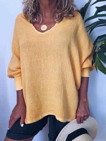 Casual Deep V Neck Yellow Long Puff Sleeves T-Shirt