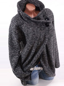 Casual Pure Color High Neck Cardigan