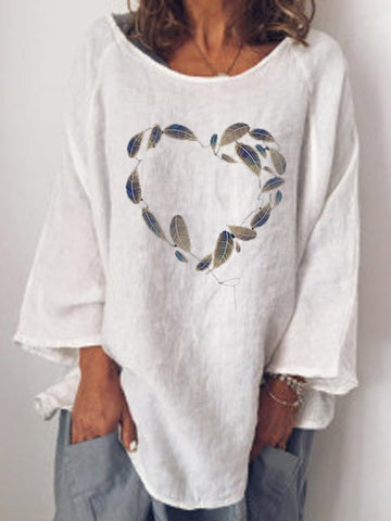Round Collar Floral Printed Shoulder Long Sleeve T-Shirts