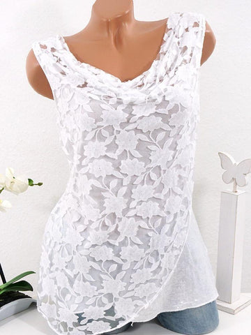 Summer Round Neck Lace Sleeveless Top