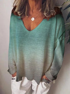 Printed Long Sleeve V Neck Tie Dyed T-Shirts