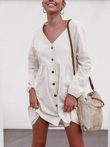 Women's Fashion Simple Single-Breasted V-neck Dress
