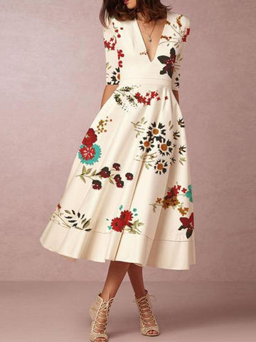 2019 Deep V-Neck Floral Printed Formal Skater Dress