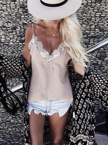 V Neck Sexy Lace Patchwork Camis