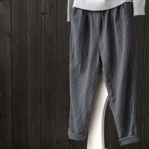 Literary Cotton And Linen Loose Casual Slimming Harem Pants