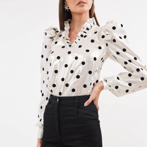 Women's Fashion V-neck Polka Dot Long Sleeve Shirt