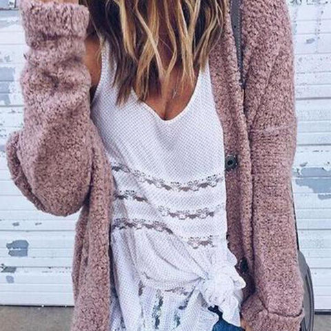 Fashion Lady Casual Loose Plain Long Sleeve Cardigan