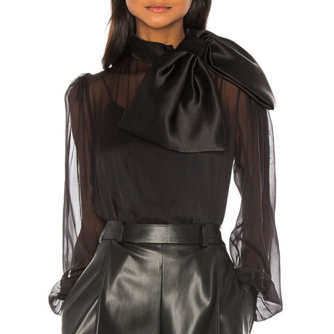 Fashion Bowknot Bishop Sleeve Pure Color Organza Blouse