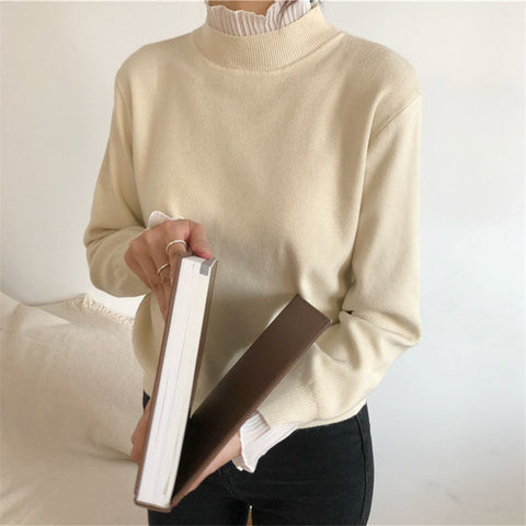 Solid color turtleneck loose knit top