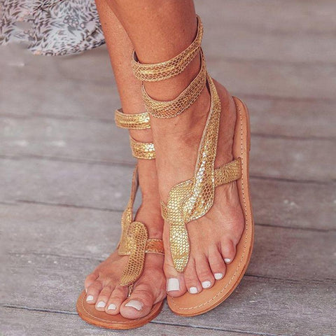 Animal Printed  Flat  Ankle Strap  Peep Toe  Casual Gladiator Sandals