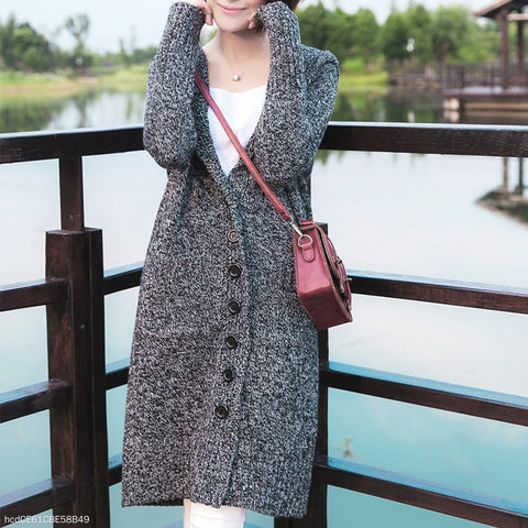 Fashion Buckle Hooded Knit Cardigan