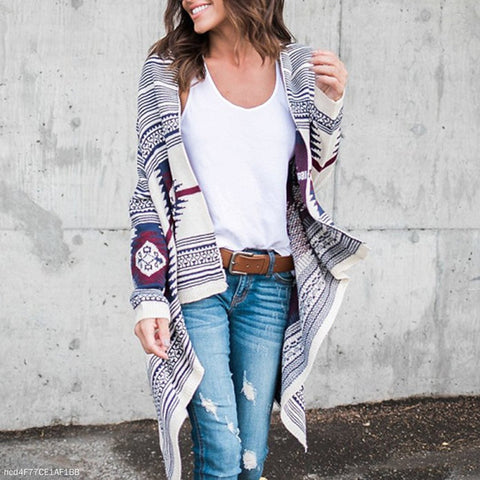 Fashion Irregular Printed Knit Cardigan