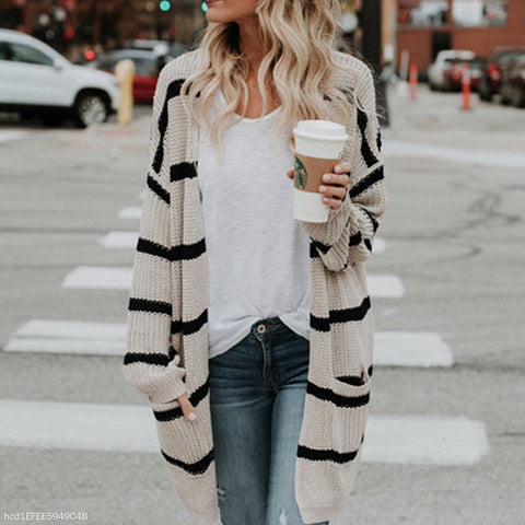 Fashion Striped Cardigan Sweater