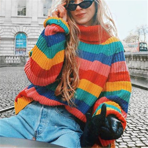 Colorful Striped Knit Pullover Sweater