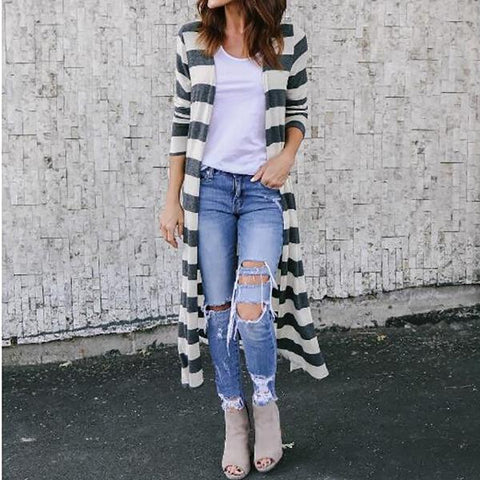 Stripe Printed Split Hem Knit Cardigan