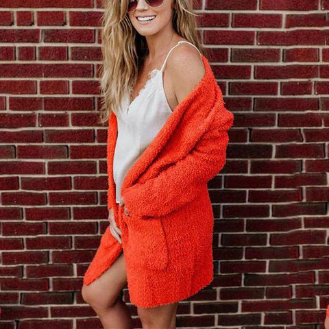 Pure Color Plush Cardigan Long - Sleeved Jacket