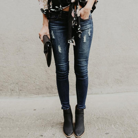 Ripped Jeans  And Slim Pencil Jeans