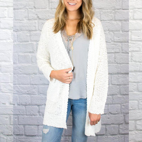 Long Sleeve Plain Pocket Knitting Cardigans