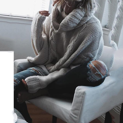 Stylish Solid Color Turtleneck Short Sweater