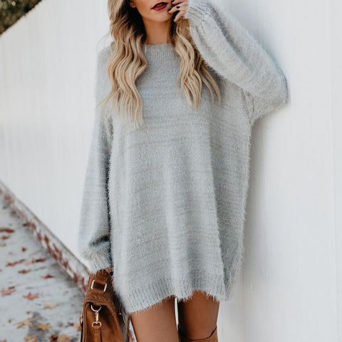 Fashion Round Neck Pure Colour Sweater Dress