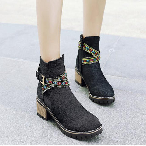 Stitching Side Zipper Chunky Heel Denim Chelsea Ankle Boots