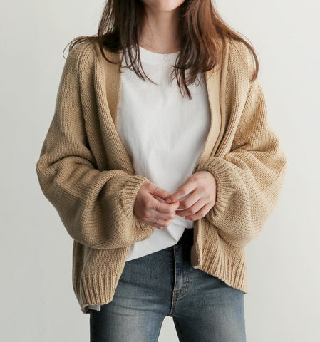 Casual Pure Color   Loose And Short Knit Cardigan Coat