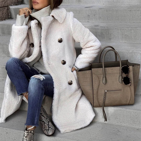 Winter Warm Solid Color Double-Breasted Long Outerwear
