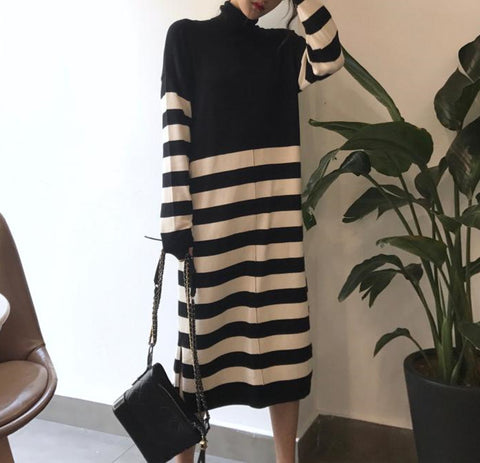 Fashion Striped   Long-Sleeved Long Knitted Dress