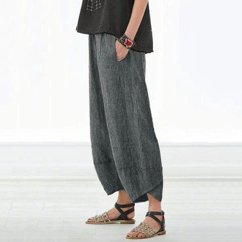 Casual Pockets Striped Casual Capri Pants
