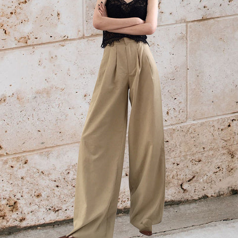 Fashion High-Waist Loose Pure Colour Broad Leg Pant