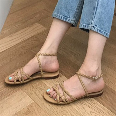 Fashion Casual   Round Flat Sandals