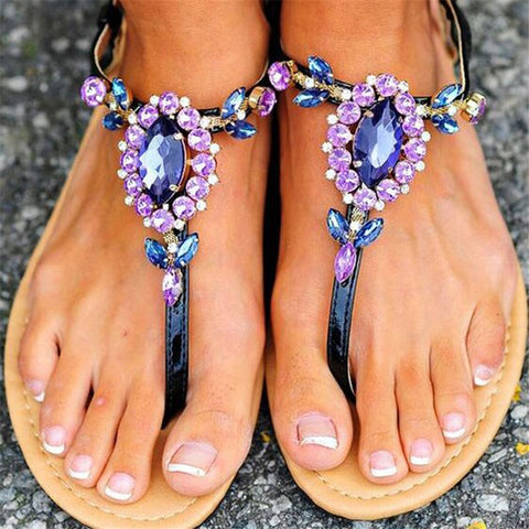 Fashion   Rhinestone Buckle With Flat Toe Sandals