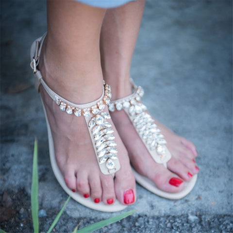Fashion   Rhinestone Buckle With Open Toe Sandals