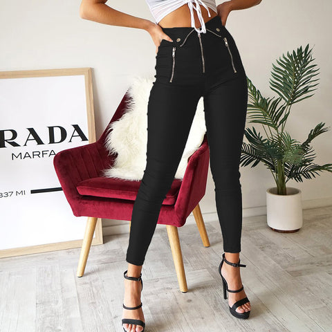 Casual Metal Zipper Pure Colour High-Waist Ninth Pants