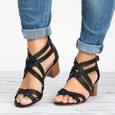 Plain Chunky High Heeled Peep Toe Date Office  Platform Sandals
