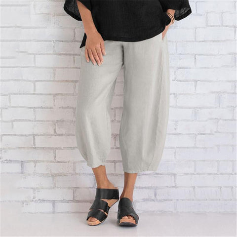 Cotton Bamboo Stitching Cropped Trousers